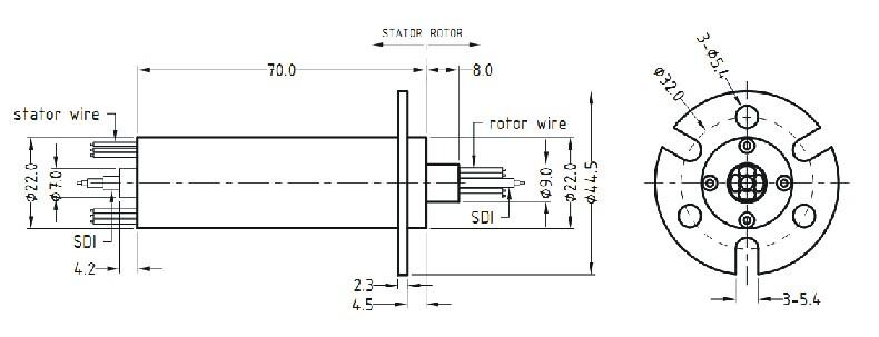 安装说明 1. 安装导电环 将导电环固定在设备需要安装的位置 法兰与设备固定部分安装方法:(结合图纸A使用) A. 把滑环安装在需要的位置并把配套的螺丝朝径向锁紧。最大力矩25 lb-in(不能超过) B. 把导线排好并做必要的连接,需防止导线妨碍滑环的自由旋转,不能压迫导线以至导线折弯,否则最终将导致导线折断而引起的事故 法兰与设备旋转部分安装方法:(结合图纸B使用) A.